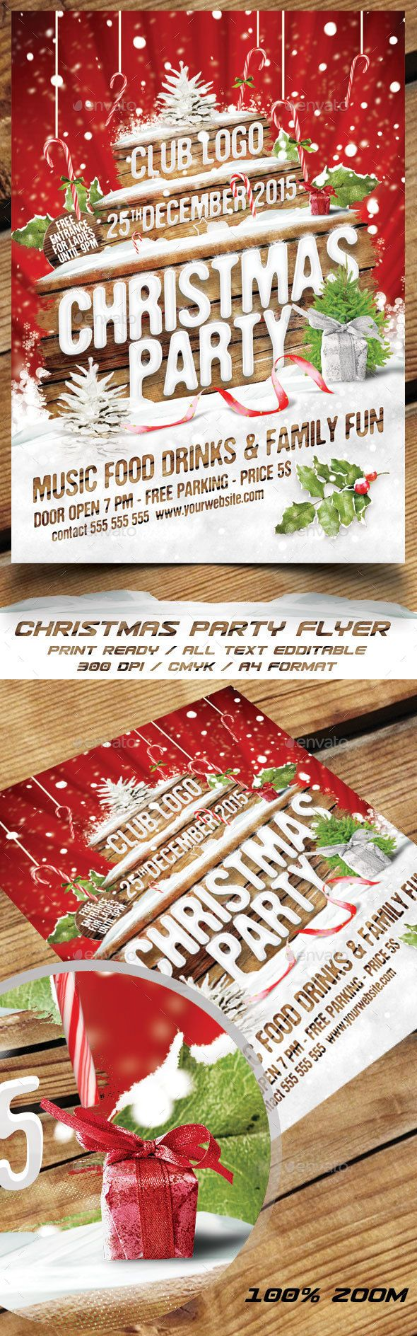 Christmas Party Flyer  Party Flyer Flyer Template And Graphics