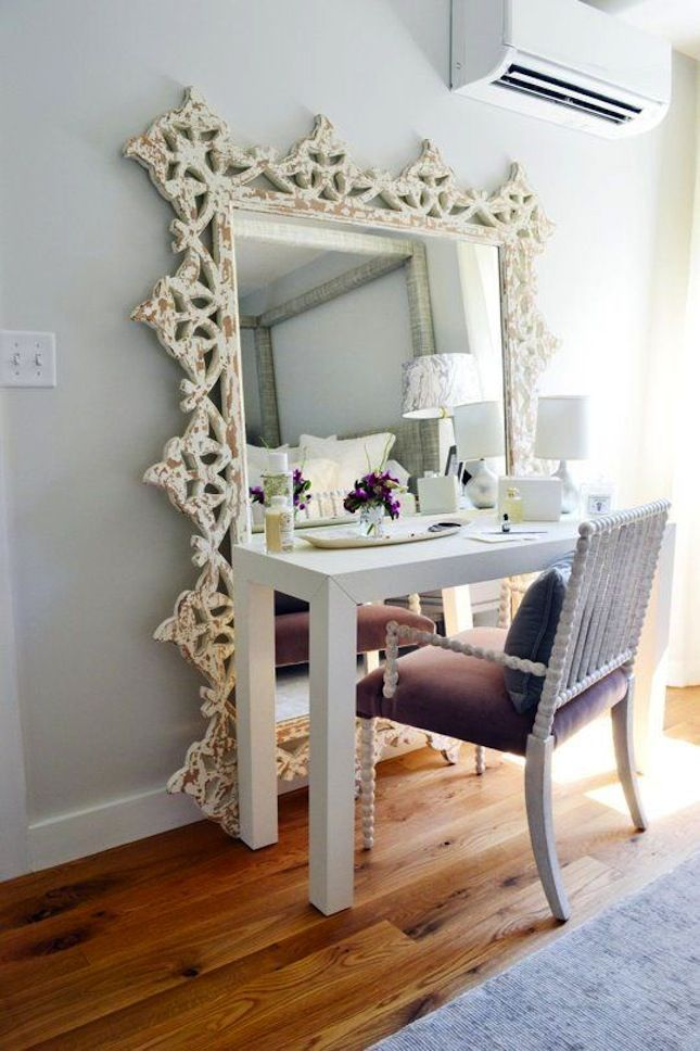 gorgeous space and love the mirror used as a vanity mirror 7 ideas to steal from the boston magazine design home turn a floor mirror u0026 desk into a vanity