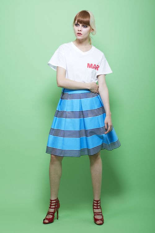 avie online store 1151-120401 シアーボールドライン ミディスカート