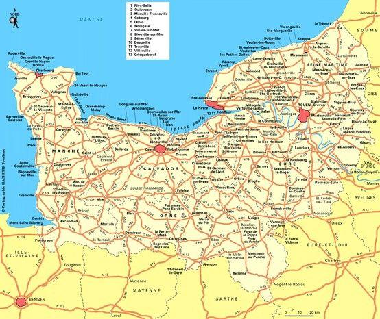 Carte De La Normandie Normandy Caen France