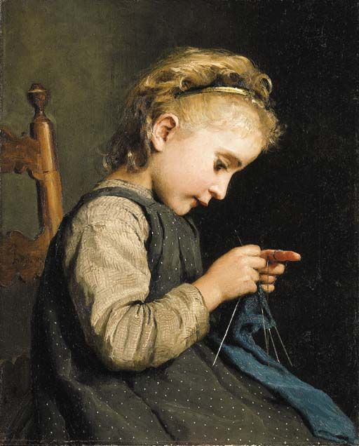 Genre Painting by Swiss Artist Albert Anker Don't know what it is