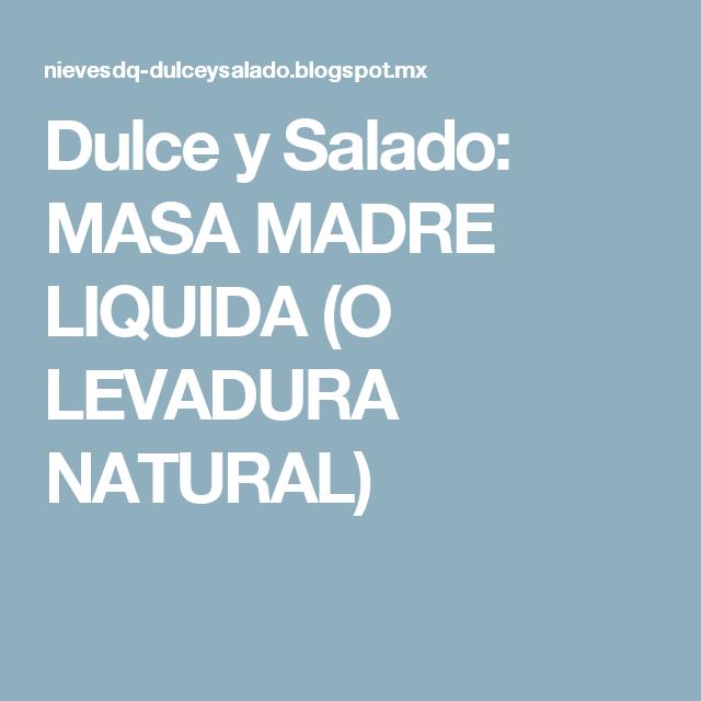 Dulce y Salado: MASA MADRE LIQUIDA  (O LEVADURA NATURAL)