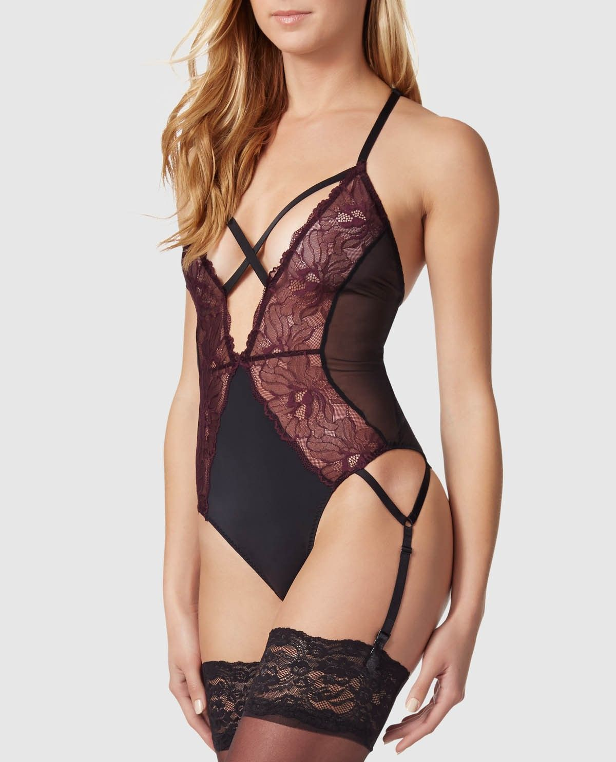 Lace bodysuit i saw it first  Perfectly naughty this bodysuit has an unlined mesh and lace body