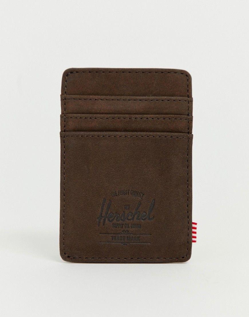 463bd09c6c0 HERSCHEL SUPPLY CO RAVEN RFID LEATHER CARD HOLDER IN DARK BROWN - BROWN.   herschelsupplyco