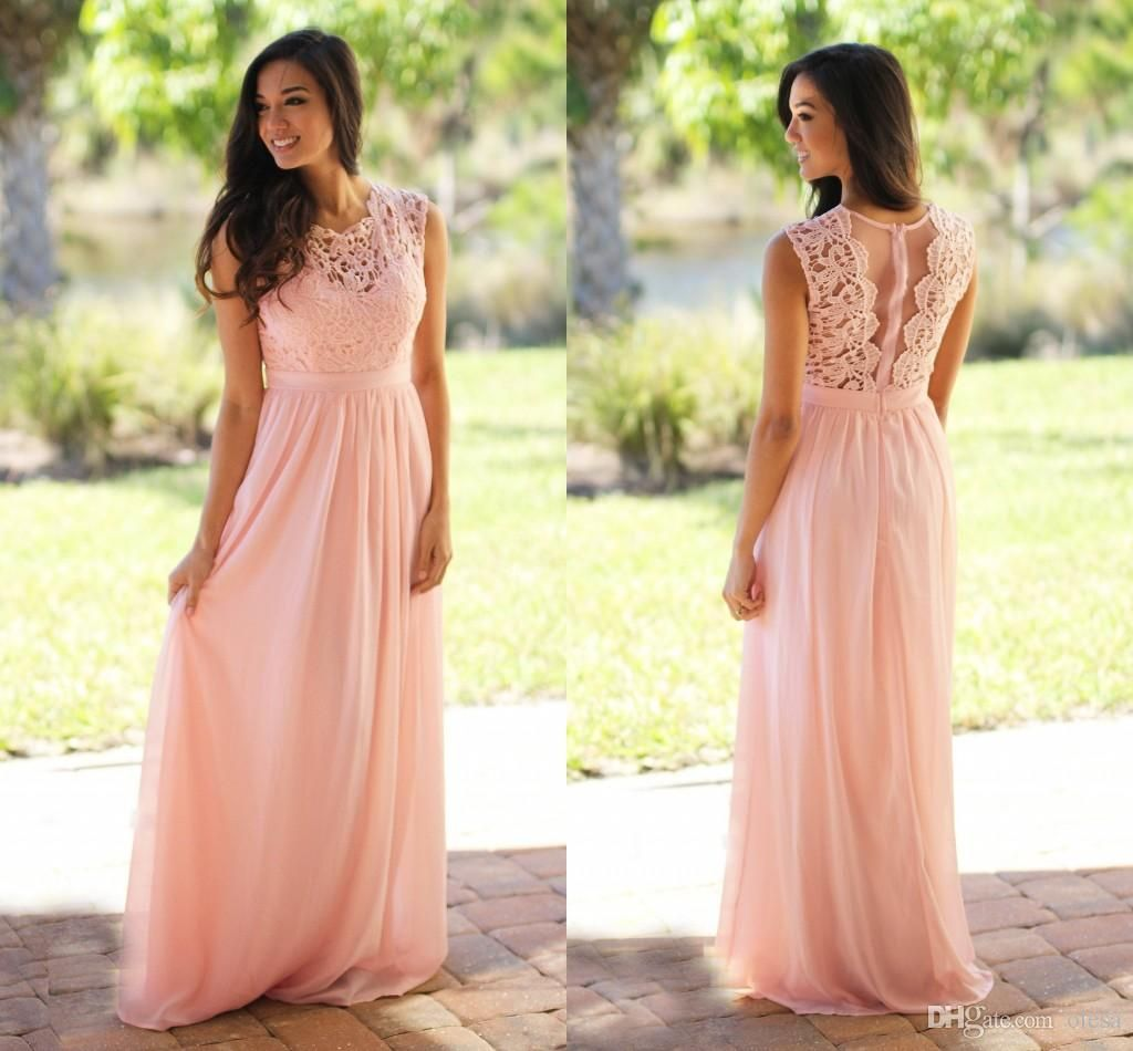 Sweetheart neckline lace padded light sky pink bridesmaid dress