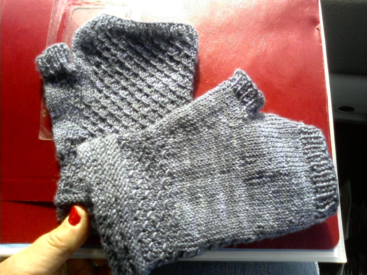 Gloves I made from yarn my Dad bought in Vancouver, BC for me.