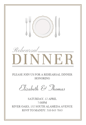 Fancy Flatware Bu0026W   Free Rehearsal Dinner Party Invitation Template  Free Dinner Invitations