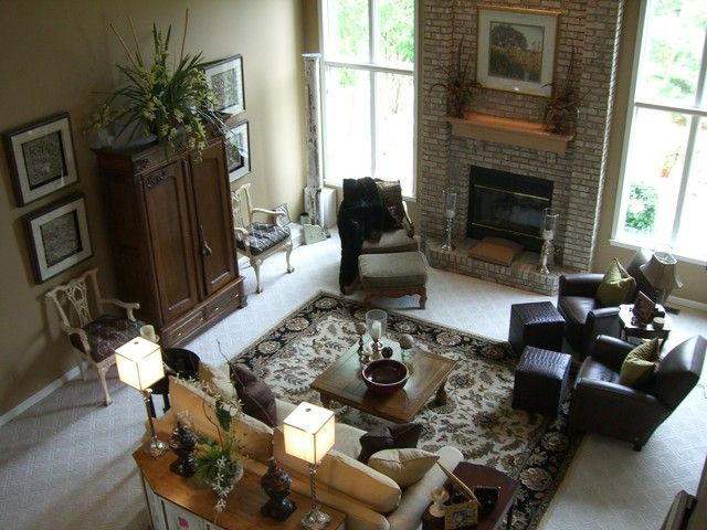 Two Story Great Room With Fireplace In Center Of Wall | Traditional Family