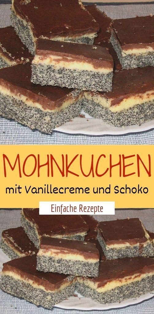 Mohnkuchen mit Vanillecreme und Schoko  #leckerekuchen