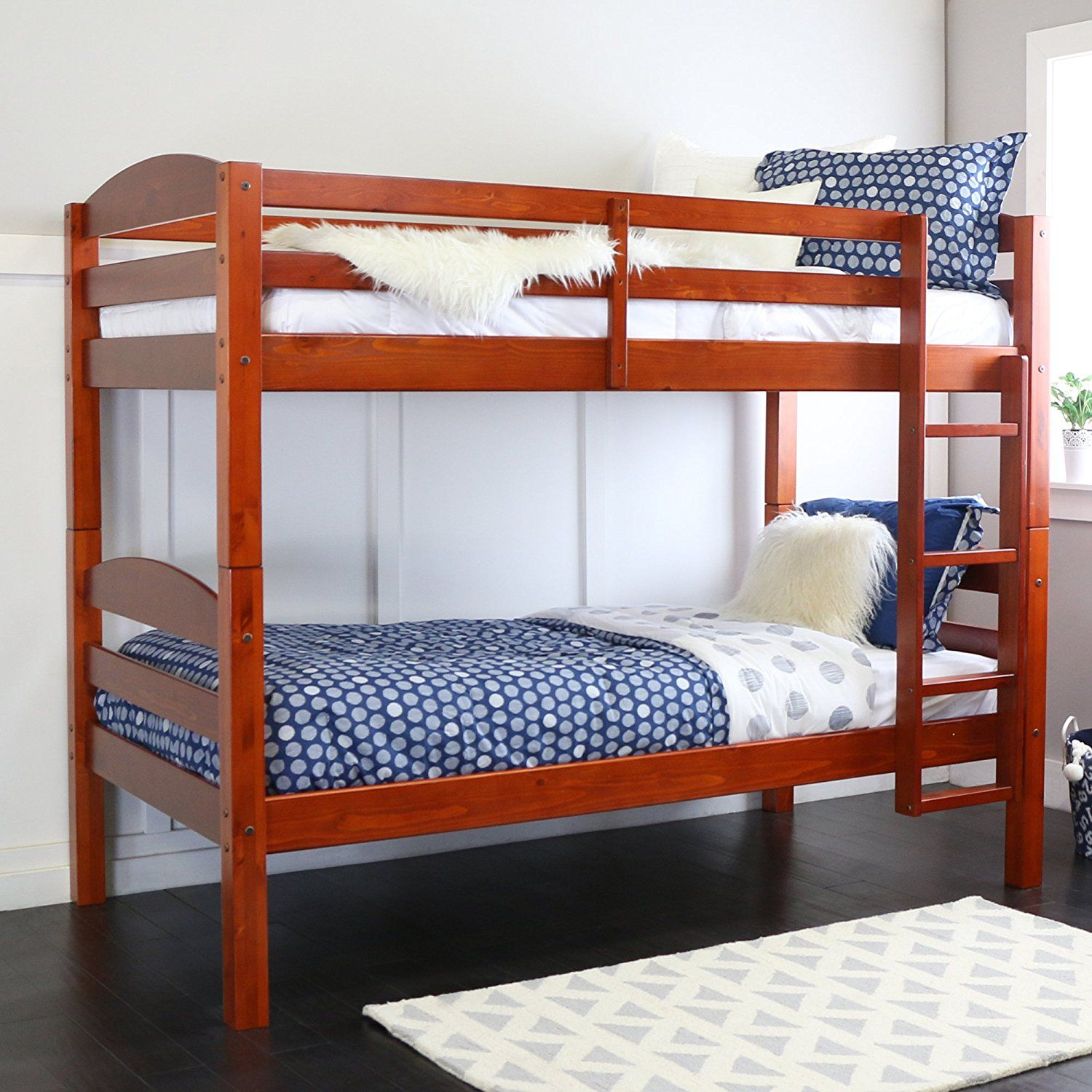 Walker Edison Solid Wood Twin Bunk Bed, Cherry ** Check