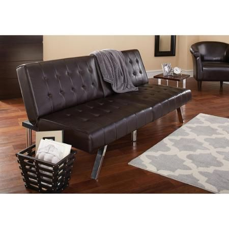 Mainstays Faux Leather Tufted Convertible Futon, Brown   Walmart.com $$169