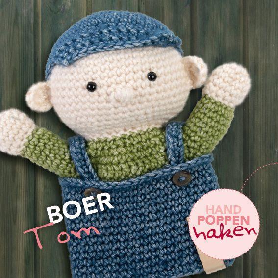 Boer Tom uit mijn boek Handpoppen haken #haken #haakpatroon #gehaakt ...