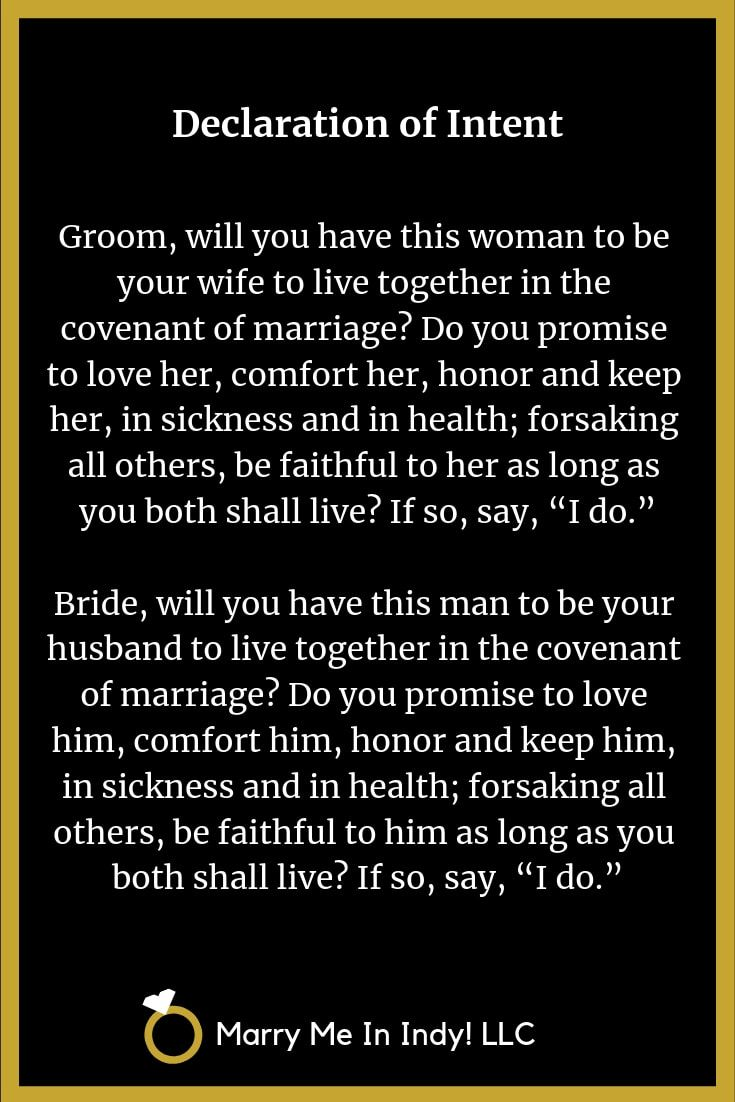 Declaration of Intent to Marry WEDDING CEREMONY PRO