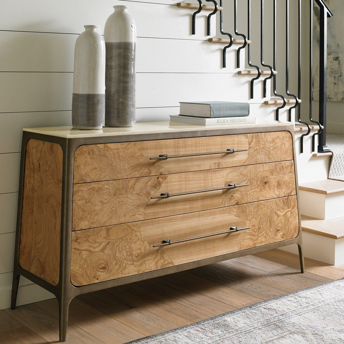 Poised perfection my torrance stone top dresser offers style and
