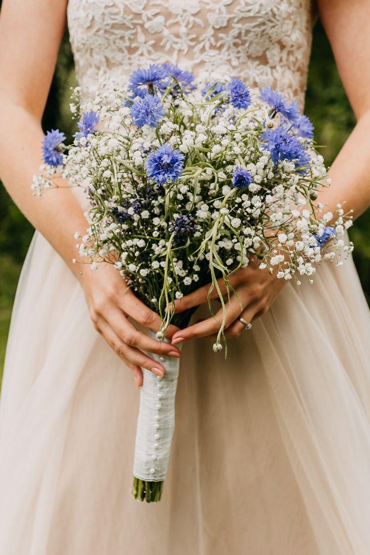 Rustic Relaxed Cornflower Blue Barn Wedding Blue Wedding Flowers