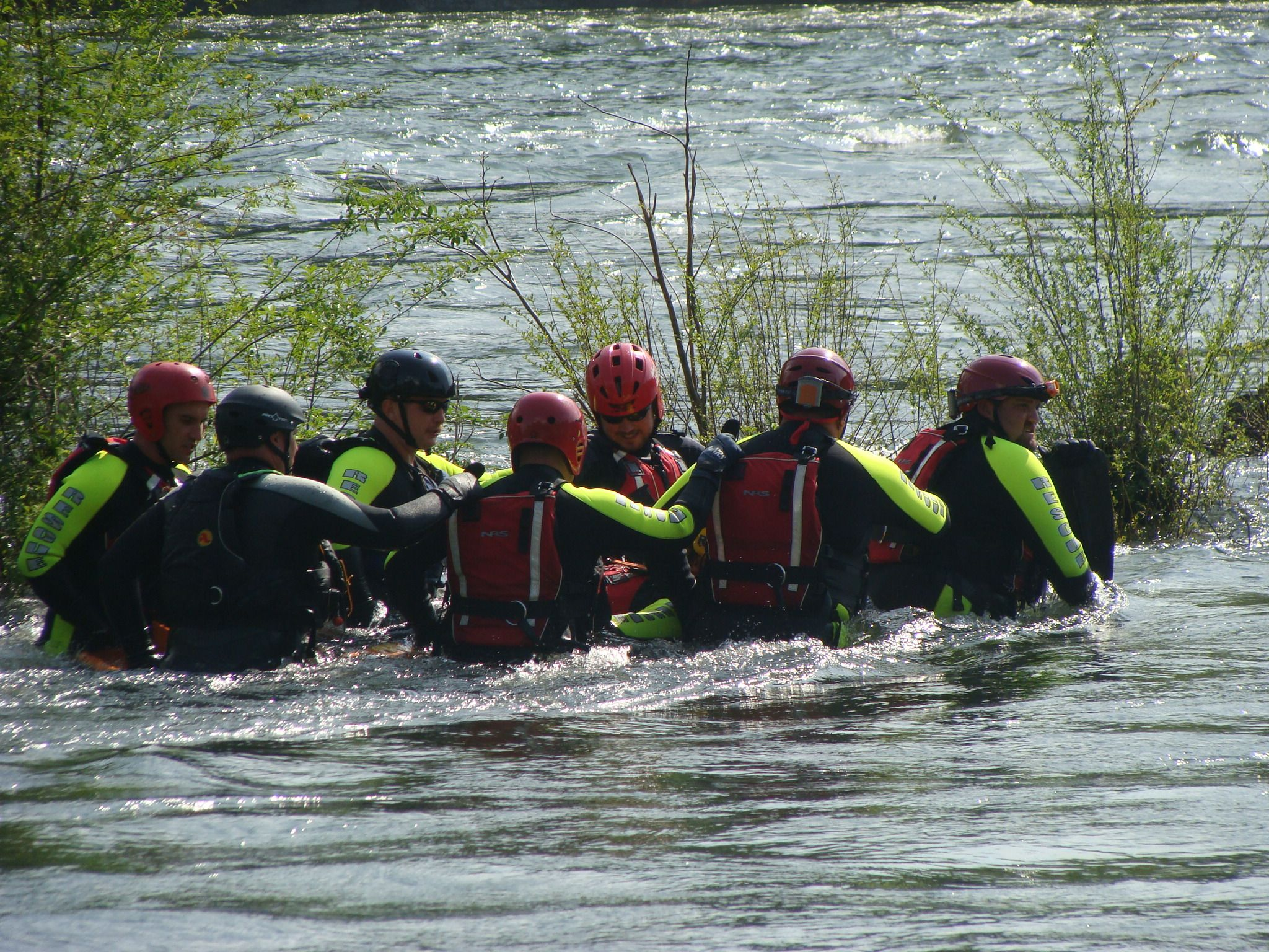 Swiftwater class...swift water crossing with a victim.