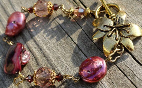 DIY kit Fuchsia Pearl and Crystal Bracelet DIY by KCRlehrstudio, $8.00