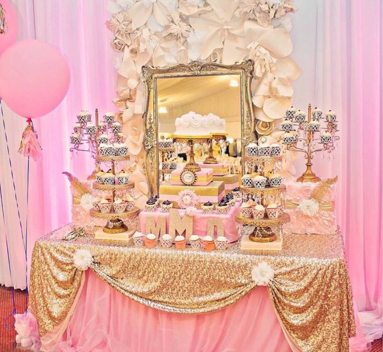 Pink and gold sequin birthday table set up | October 26 | Pinterest ...