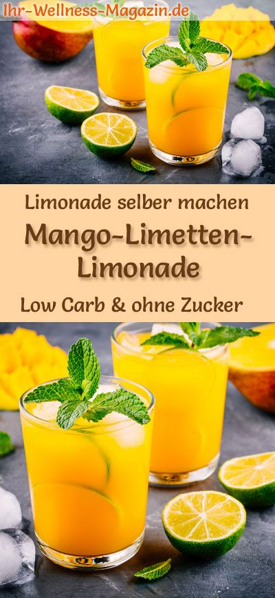 Mango-Limetten-Limonade selber machen - Low Carb & ohne Zucker #lemonade