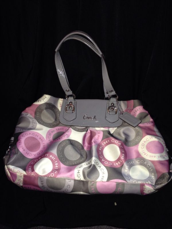 Pink Gray Coach Purse Grey And White Purses Bags