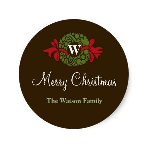 Monogram letter wreath Christmas holiday gift tag Round Stickers - gift letters