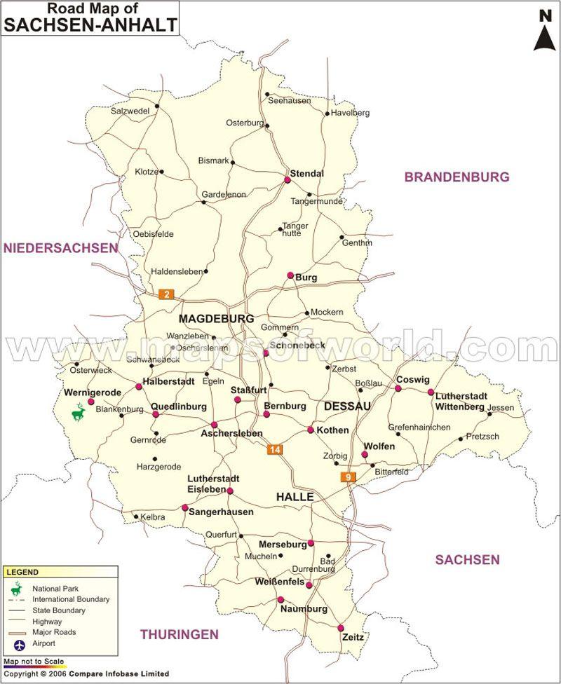 Sachsen Anhalt Road Map Map