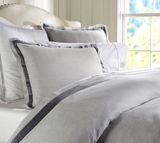 Black And Grey Bedroom Ideas Haint Blue Bedroom Modern Bedroom Sets Queen Master Bedroom Decor Traditional: Linen With Silk Trim Duvet Cover & Sham