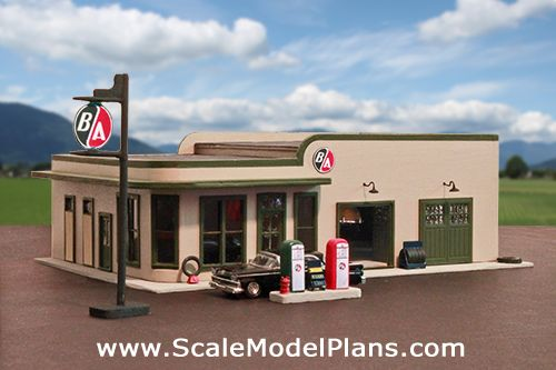 Vintage Gas Station in HO Scale done in styrene and balsa ...