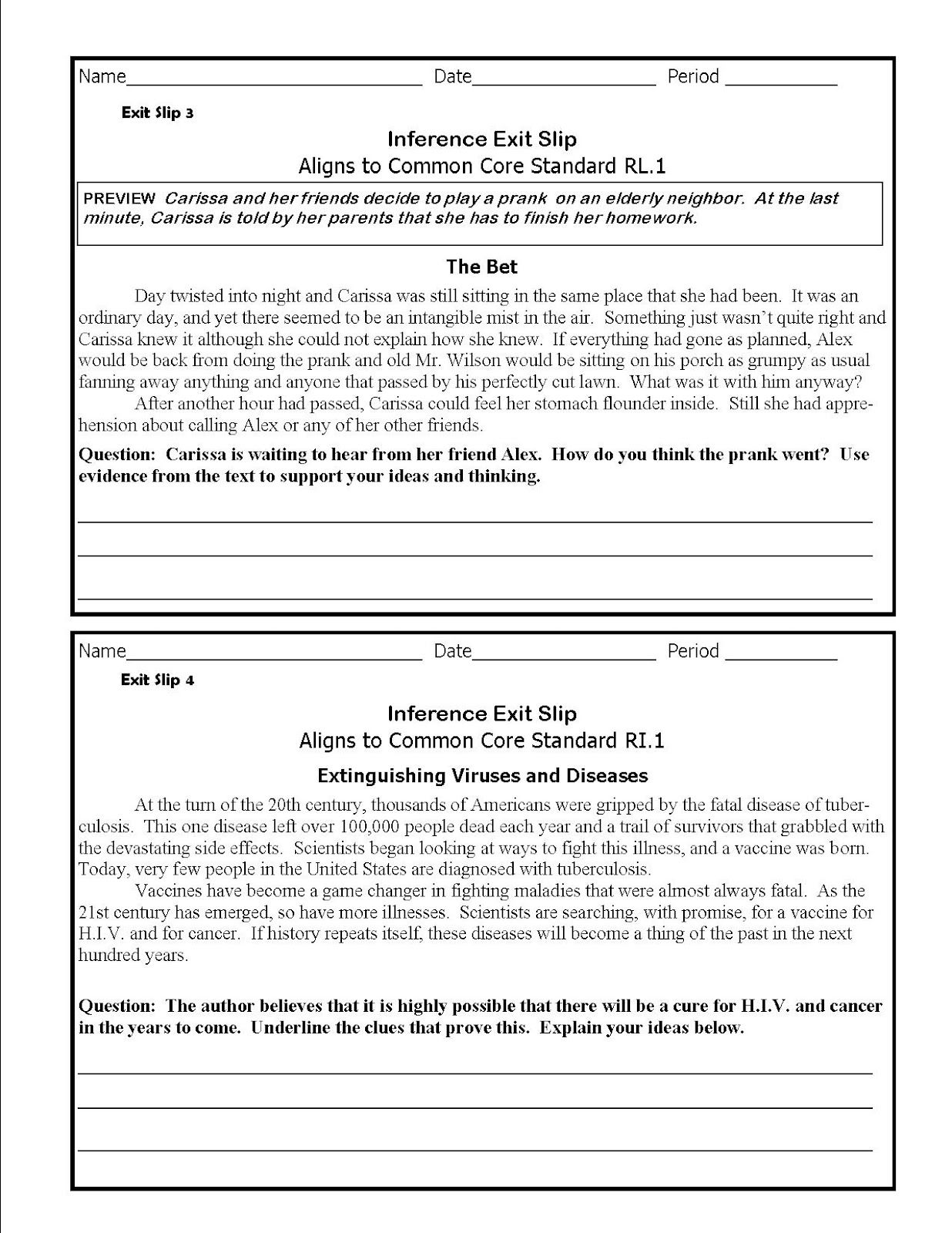 The Lesson Cloud Middle School Common Core Inference Exit Slips