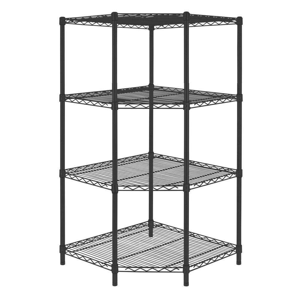Hdx Black 4 Tier Corner Metal Wire Shelving Unit 27 In W X 55 In H X 27 In D Sl Csus 114p The Home Depot Corner Shelves Corner Shelving Unit Shelving Unit