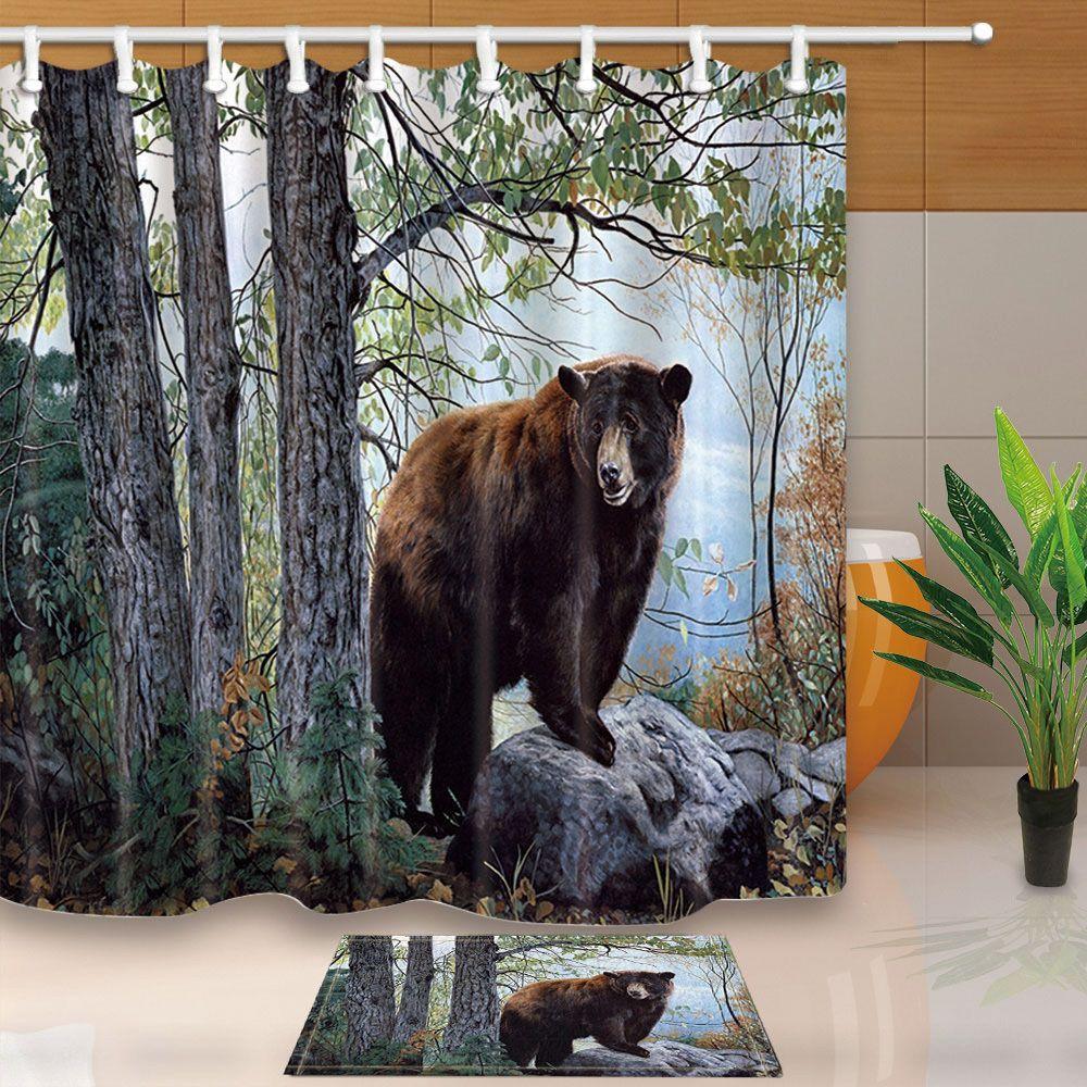 "71/"" Brown bear Waterproof Shower Curtain with hooks Bathroom mat set home decor"
