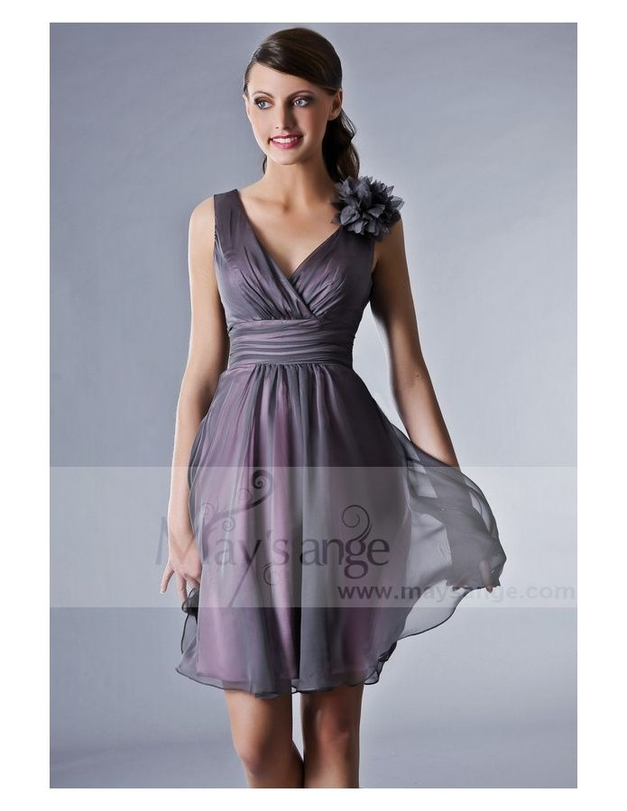 Robe cocktail grise courte