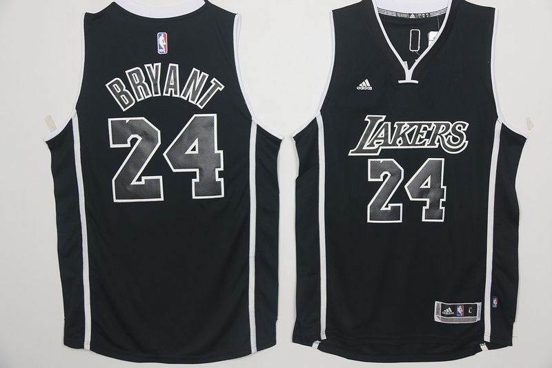 Los Angeles Lakers 24 Kobe Bryant Black and White Swingman Jersey ... 2a0f3705b
