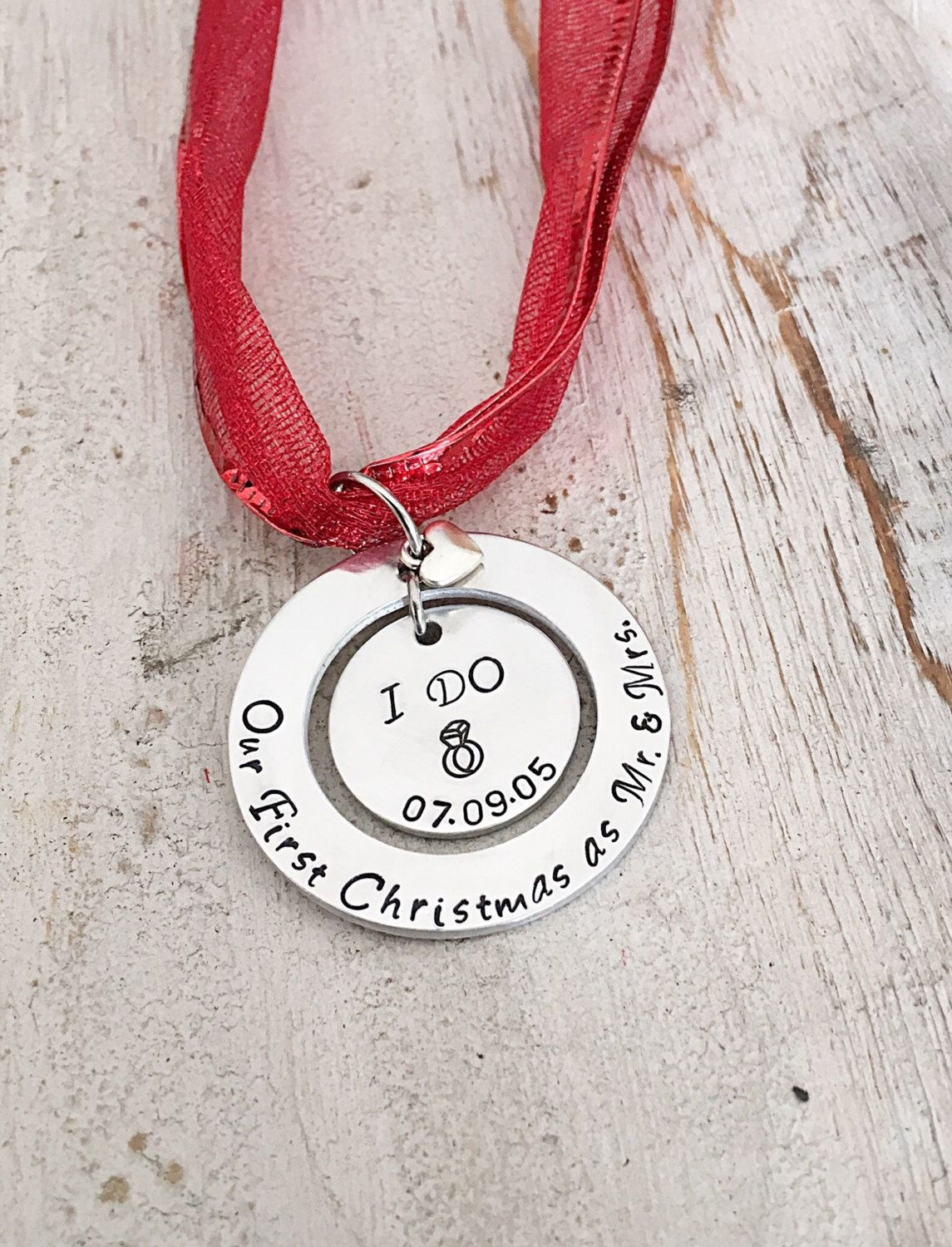 This custom ornaments outer ring is hand stamped with