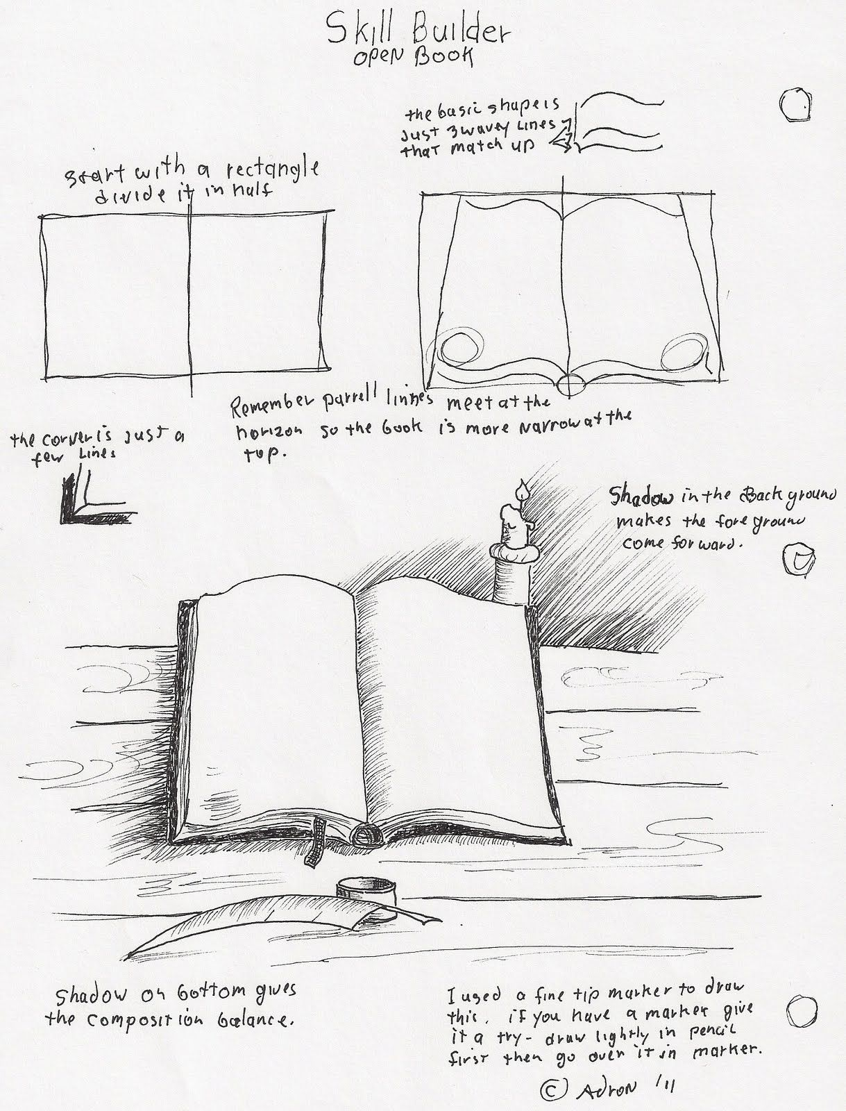 Adron S Art Lesson Plans How To Draw An Open Book With Pen And Ink For The Young Artist