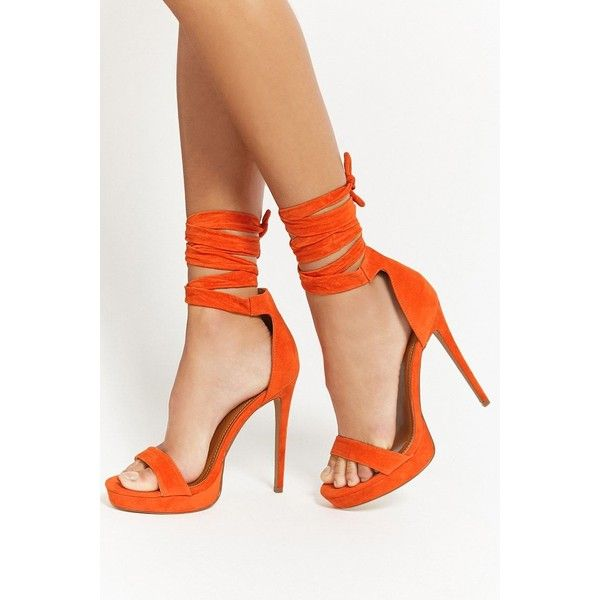 3d9e989547d Forever 21 Shoe Republic Lace-Up Heels Orange ( 35) ❤ liked on Polyvore  featuring shoes