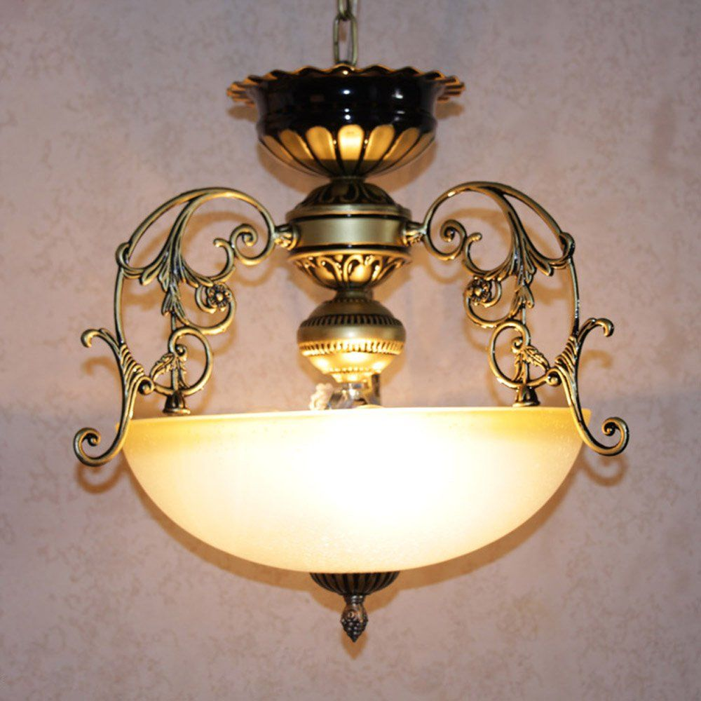 Vintage europe bronze hallway pendant lamp retro glass balcony storage hanging lighting fixtures living room pendant