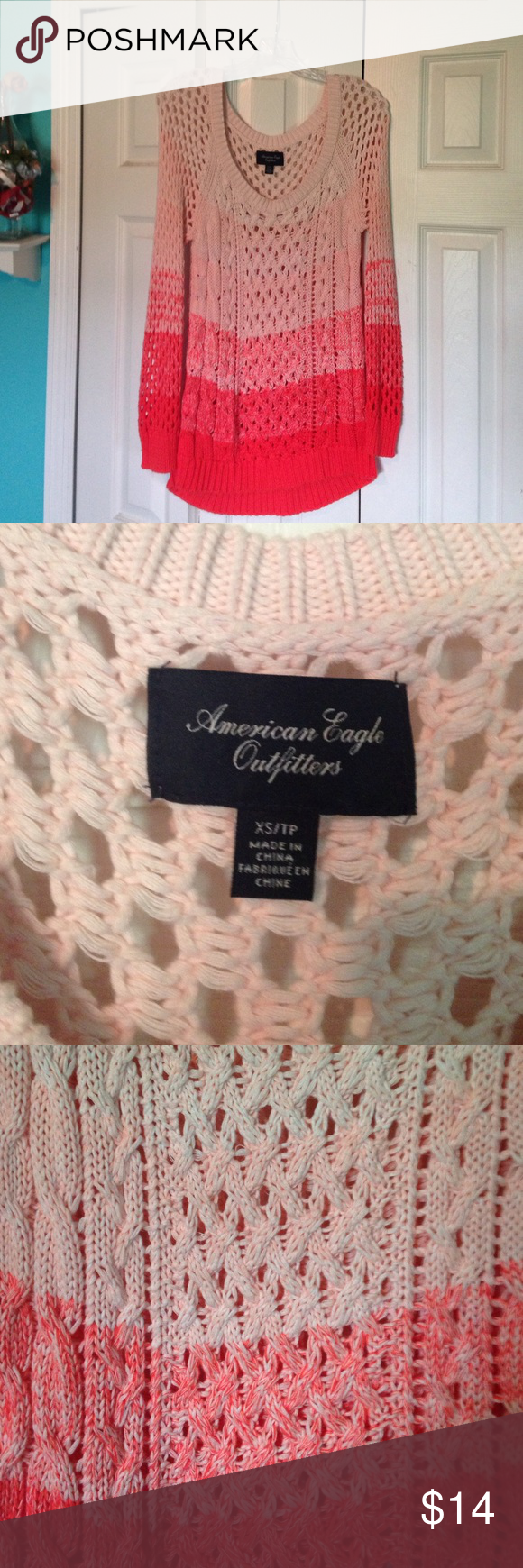 American Eagle This is an American Eagle ombré sweater in an xs that was light worn and in excellent condition no stains or fading. No trades other apps or PayPal I do take offers and bundle my discount is 2/20% and 3/30% just message me to change American Eagle Outfitters Sweaters