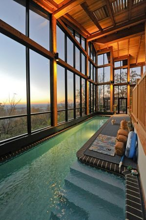 Huntsville Home On Green Mountain Has Jaw Dropping View Which You Can Enjoy From A Cool Lap Indoor Swimming Pool Design Indoor Swimming Pools Backyard Getaway