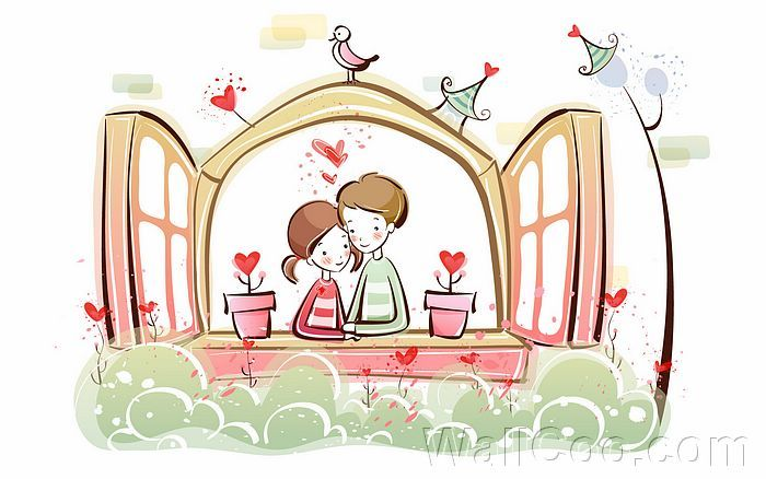 Young Love Valentine Cute Couple Illustrations Love Home