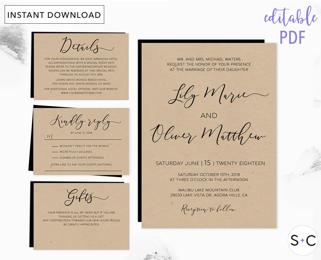 Wedding Invitation Template, Rustic Wedding Invitation Template ...