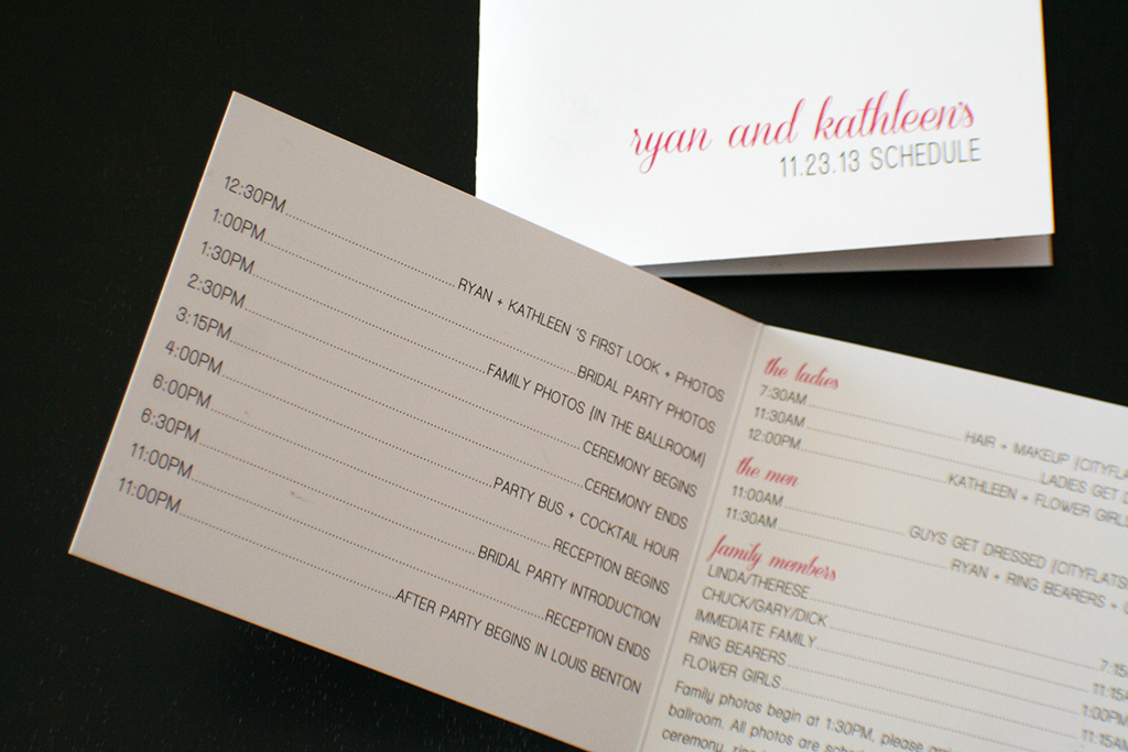 Wedding agenda to hand out on the rehearsal night to