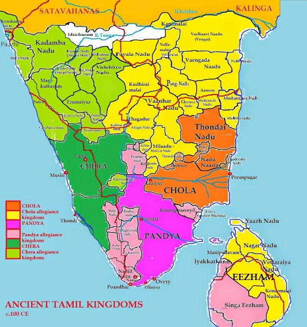 Approximate boundaries of 1st century S.Indian Tamil kingdoms from Tamil literature notes, showing Sinhala as Pandyan sister concern. Not to be scaled.