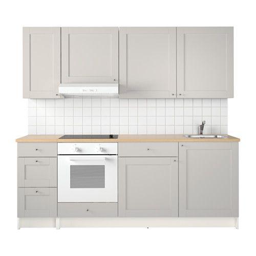Knoxhult cuisine gris etagere tiroir pied reglable et mitigeur - Prix d une cuisine ikea complete ...