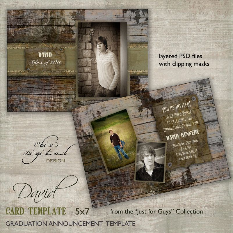 Graduation Announcement Card Template for photographers - Just for ...