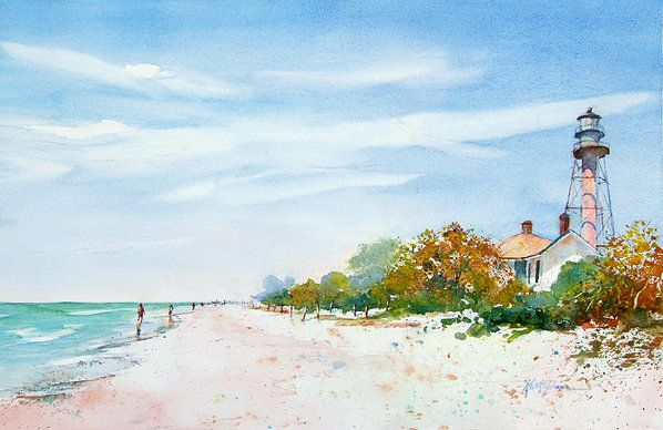 Sanibel Island Lighthouse Beach Art Print By Keith Johnson
