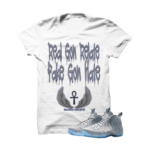 d5d1e2c87d97 Real Gon Relate Wolf Grey Foams White T Shirt. The Real Gon Relate Wolf  Grey Foams White T SHIRT is a premium quality sneakerhead t shirt.