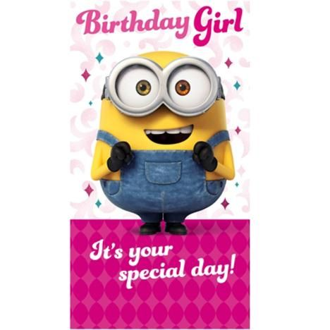 Birthday Girl Minions Birthday Card With Images Minion