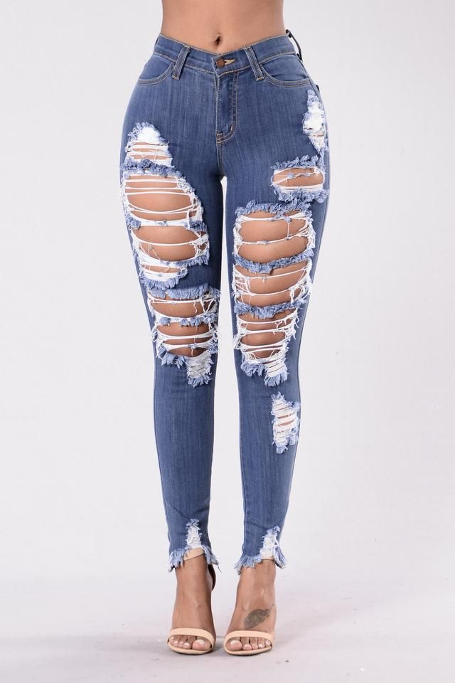 Distressed Boyfriend Jean - Medium blue Pieces Wholesale Online WvGdH