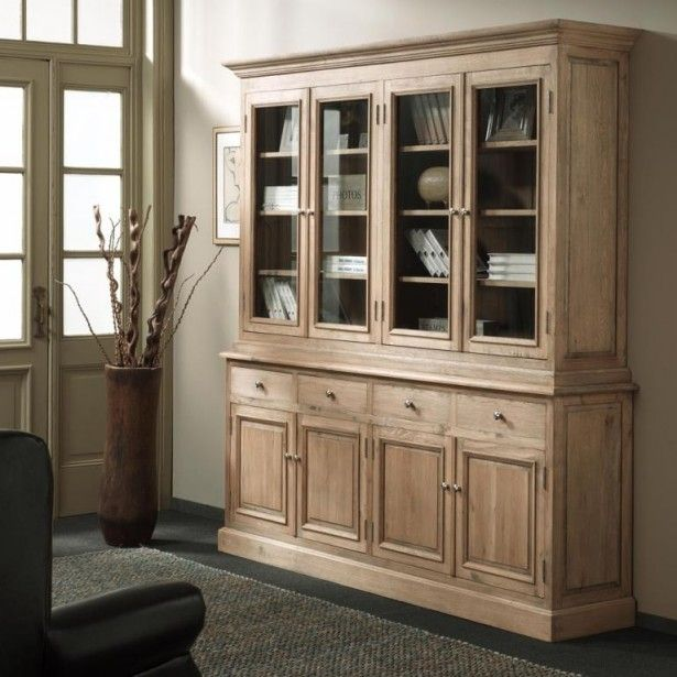 grand vaisselier vitr classique chic ch ne massif 200x42x210cm medicis chene massif. Black Bedroom Furniture Sets. Home Design Ideas